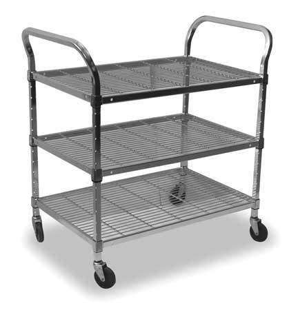Value Brand Wire Cart 3 Shelf 48x18x39 Zinc