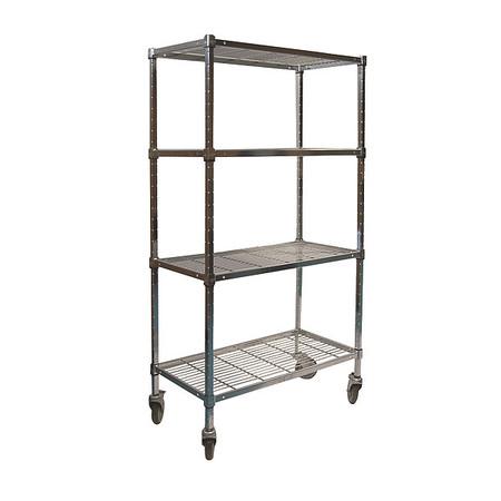 Value Brand Wire Cart 4 Shelf 48x24x70 Zinc