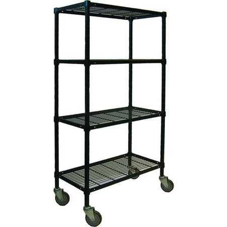 Value Brand Wire Cart 4 Shelf 48x24x70 Black