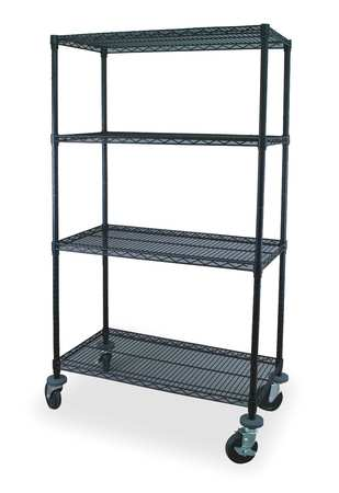 Value Brand Wire Cart 4 Shelf 48x24x69 Black