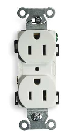 15A Duplex Receptacle 125VAC 5 15R WH Model BR15WHI by USA Hubbell Kellems Electrical Straight Blade Receptacles