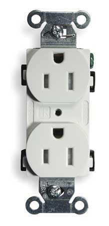 15A Duplex Receptacle 125VAC 5 15R WH Model BR15WHITR by USA Hubbell Kellems Electrical Straight Blade Receptacles