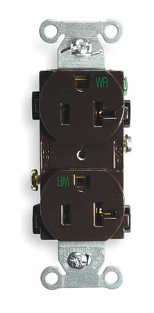 20A Duplex Receptacle 125VAC 5 20R BN Model BR20WR by USA Hubbell Kellems Electrical Straight Blade Receptacles