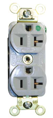 20A Duplex Receptacle 125VAC 5 20R GY Model HBL8300ILGY by USA Hubbell Kellems Electrical Straight Blade Receptacles