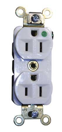 15A Duplex Receptacle 125VAC 5 15R WH Model HBL8200ILW by USA Hubbell Kellems Electrical Straight Blade Receptacles