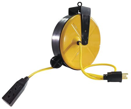 Cord Reel Three Outlet 14/3 30Ft Yellow by USA Lumapro Extension Cord Reels