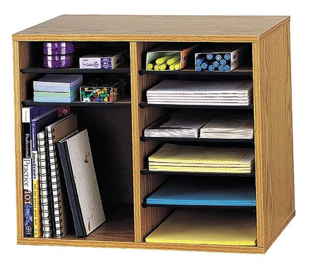 Adjustable Literature Organizer 12 Compartments, Oak
