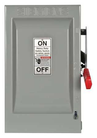 60 Amp 600VAC Single Throw Safety Switch 3P Model HF362 by USA Siemens Electrical Safety & Disconnect Switches