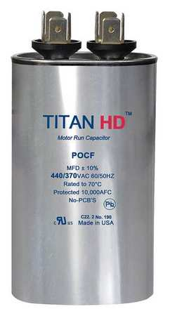 Motor Run Capacitor 40 MFD 440V Oval by USA Titan Motor Run Capacitors