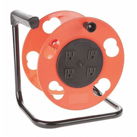 Cord Storage Reel w/4 Outlets 15A C B Min. Qty 4 by USA Bayco Extension Cord Reels
