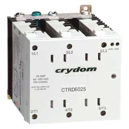 Solid State Relay 180 to 280VAC 25A Model CTRC6025 by USA Crydom Electrical Solid State Relays