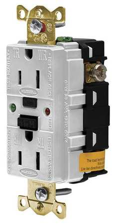 GFCI Receptacle 15A 125VAC 5 15R White Model GFR5262SGW by USA Hubbell Kellems Electrical GFCI Receptacles