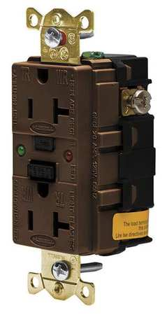 GFCI Receptacle 20A 125VAC 5 20R Brown Model GFR5362SG by USA Hubbell Kellems Electrical GFCI Receptacles