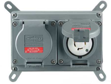 30A Duplex Locking Receptacle 3P 4W 480VAC L16 30R GY by USA Hubbell Kellems Electrical Locking Receptacles