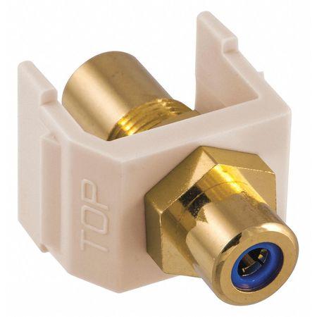 Inline Coupler RCA Duplex Light Almond Model SFRCBFFLA by USA Hubbell Premise Voice & Data Jacks