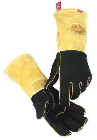 CAIMAN 1812-5 Glove,Welding,14 In L,Gold and Gray,L,Pr