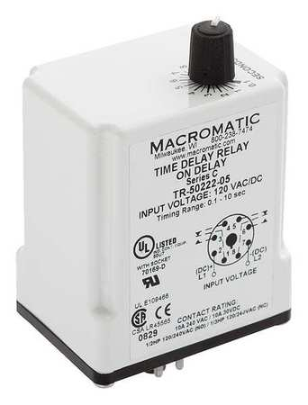 Time Delay Relay 12VDC 10A DPDT 3 sec. by USA Macromatic Electrical Time Delay Relays