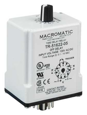 Time Dlay Rlay 120VAC/DC 10A DPDT 9 sec. Model TR 51622 14 by USA Macromatic Electrical Time Delay Relays