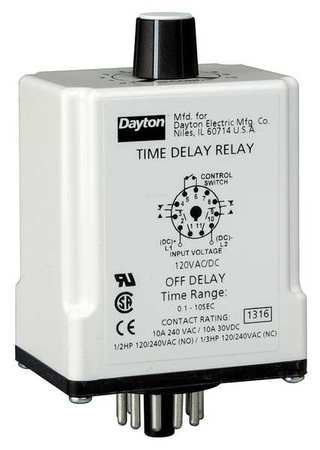 Time Delay Relay 12VDC 10A DPDT 0.1 sec. Model 24EN80 by USA Dayton Electrical Time Delay Relays