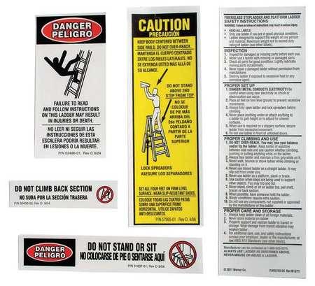 Werner Al Stepladder Safety And Instr Labels Las100