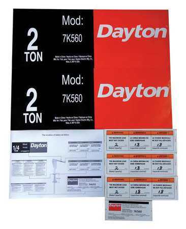 Dayton Jib Crane Label Kit For Use With 7K560