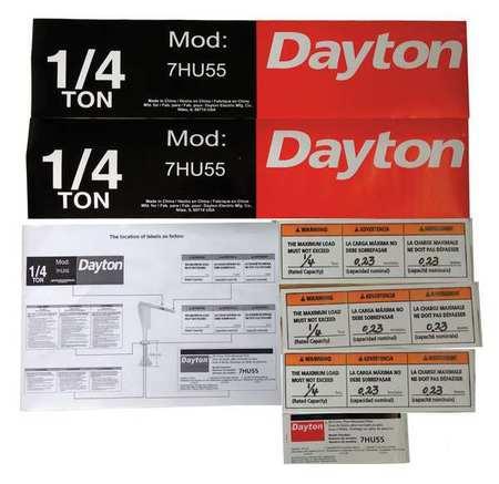 Dayton Jib Crane Label Kit For Use With 7HU55