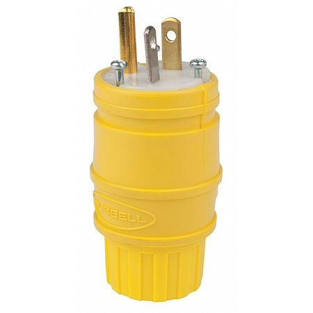3 Wire Watertight Straight Blade Plug 125VAC 20A by USA Hubbell Kellems Electrical Straight Blade Plugs