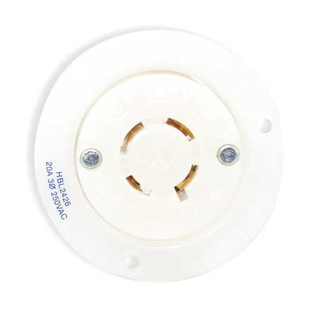 20A Flanged Locking Receptacle 3P 4W 125/250VAC by USA Hubbell Kellems Electrical Locking Receptacles