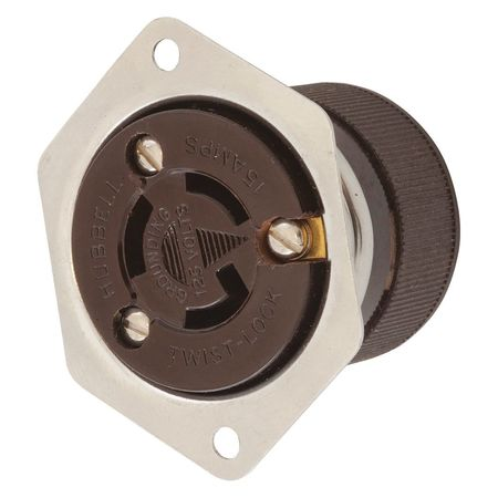 15A Flanged Locking Receptacle 2P 3W 125VAC Model HBL4715 by USA Hubbell Kellems Electrical Locking Receptacles