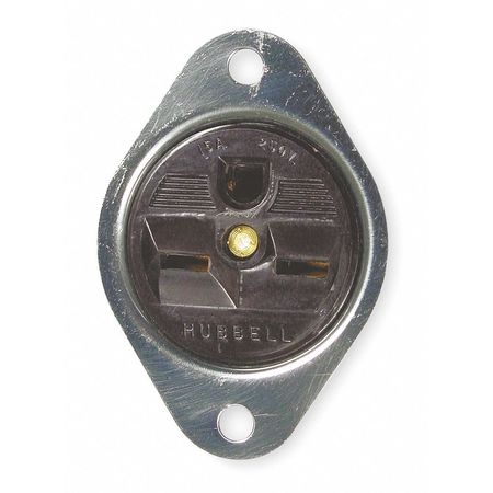 15A Single Receptacle 250VAC 6 15R BN Model HBL5658 by USA Hubbell Kellems Electrical Straight Blade Receptacles