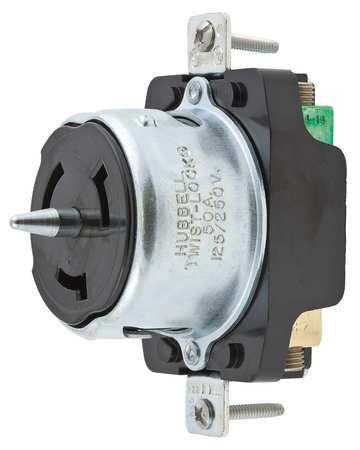 50A Locking Receptacle 3P 4W 125/250VAC BK by USA Hubbell Kellems Electrical Locking Receptacles