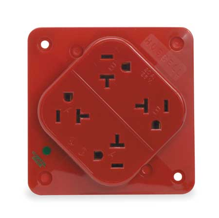 20A Quad Receptacle 125VAC 5 20R RD by USA Hubbell Kellems Electrical Straight Blade Receptacles