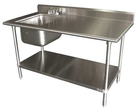 "Floor Mount  Scullery Sink with Right Work Table, Bowl Size 16"""" x 20 -  ADVANCE TABCO, KMS-11B-305L"
