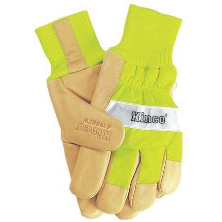 Leather Gloves,lime Green,mens S,pr