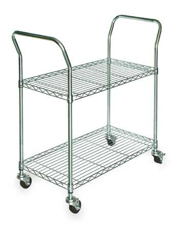 Value Brand Wire Cart 2 Shelf Zinc 53x24x39 In.
