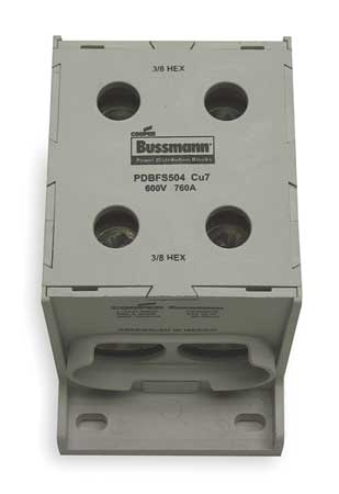 Pwr Dist Block 760A 1P 6AWG 500 MCM 600V Min. Qty 3 by USA Bussmann Electrical Wire Power Distribution Blocks