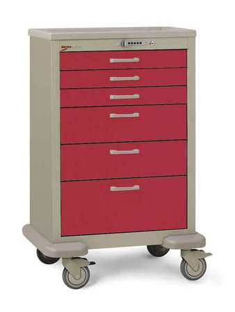 Metro Medical Cart Steel/Polymer Taupe/Red Type MBX3210TL-RE