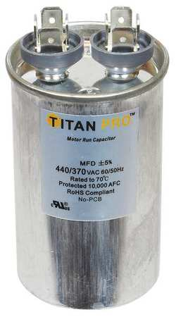 Motor Run Capacitor 20 MFD 3 7/16 In. H by USA Titan o Motor Run Capacitors