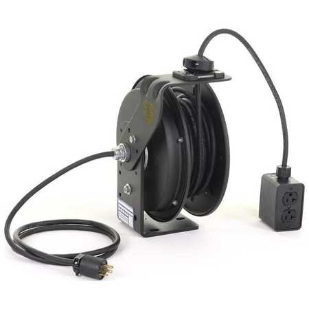 Retractable Cord Reel 50 ft. Blk 120VAC by USA KH Extension Cord Reels