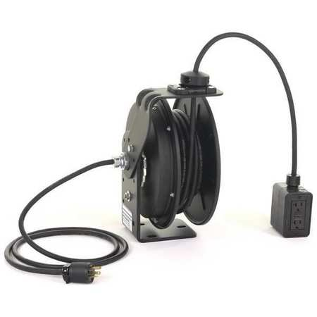 Retractable Cord Reel 50 ft. Bk 120VAC by USA KH Extension Cord Reels