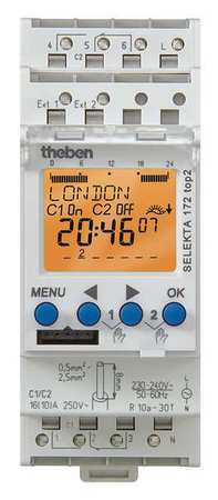 Electr Timer Din Rail Astro 24Hr/7D 2Chn Model SEL 172 TOP 2 220V by USA Theben Electronic Timers
