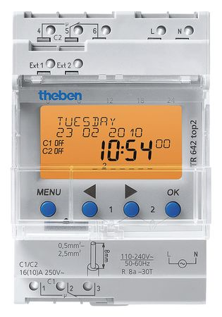 Electr Timer Din Rail 365 Day Astro 2Chn by USA Theben Electronic Timers