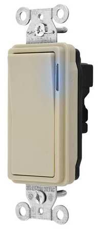 Illuminated Wall Switch 3 Way 20A Ivory Min. Qty 10 by USA Snapconnect Electrical Wall Switches