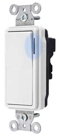 Illuminated Wall Switch 3 Way 20A White Min. Qty 10 by USA Snapconnect Electrical Wall Switches