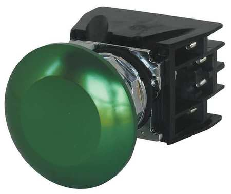 Push Button with Contacts Green Mushroom by USA Eaton Electrical Non Illuminated Pushbuttons