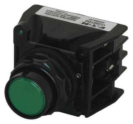 Push Button with Contacts Green Flush Model 10250T707G by USA Eaton Electrical Non Illuminated Pushbuttons