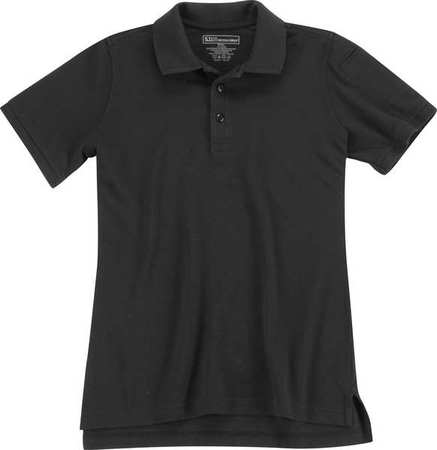 Womens Utility Short Sleeve Polo,l,black