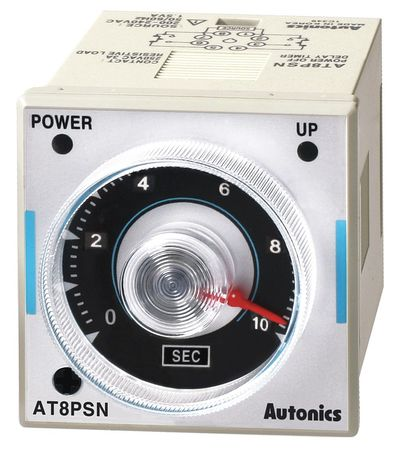 Time Delay Relay 200 to 240VAC 3A DPDT Model AT8PSN by USA Autonics Electrical Time Delay Relays