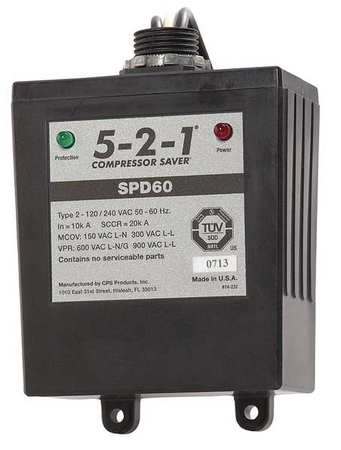 Surge Protection Device 1 Phase 120/240V Model SPD60 by USA 5 2 1 Compressor Saver Electrical Surge Protection Devices
