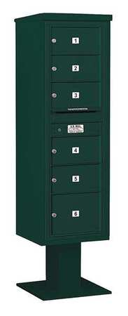Pedestal Mailbox,6 Doors,green,70-1/4in